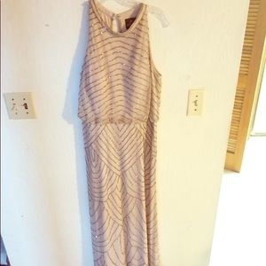 Adriana Papell 14 beaded champagne bridesmaid gown